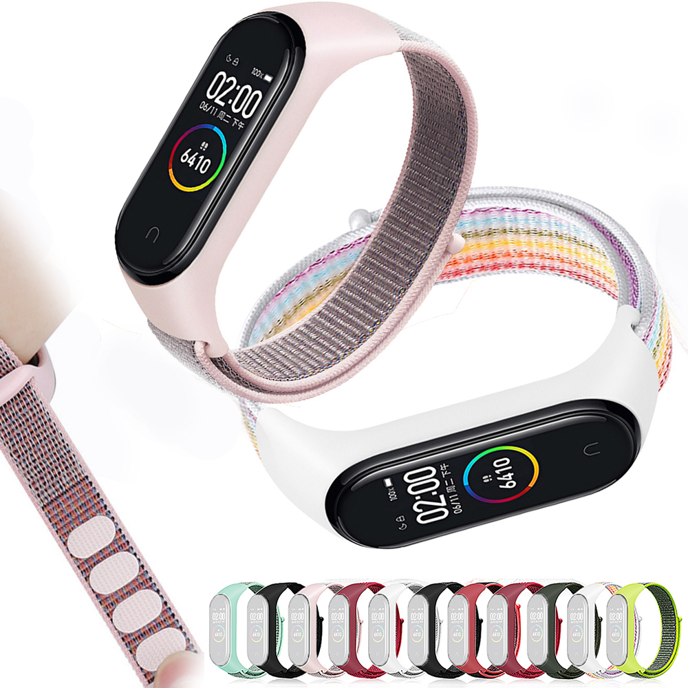 Colourful Nylon Loop Replaceable Bracelet For Xiaomi Mi Band 3 4 Sports Wristband Breathable Cover Strap Smart Watch Accessories