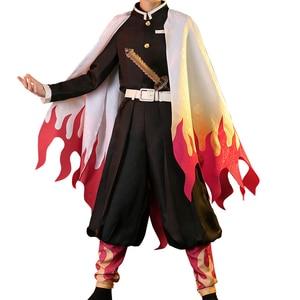 Image 5 - Hot New Anime Demon Slayer: Kimetsu no Yaiba Cosplay Costume Rengoku Kyoujurou Cos Kimono Dress H