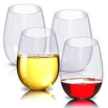 4pc/set Shatterproof Plastic Wine Glass Unbreakable PCTG Red Wine Tumbler Glasses Cups Reusable Transparent Fruit Juice Beer Cup(China)