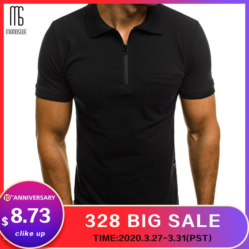 Solid Turn Down Collar Men's Short Sleeve Polo Shirt Half Zipper Pocket Loose Casual Tops Famous Brand Male Clothing 2019 New