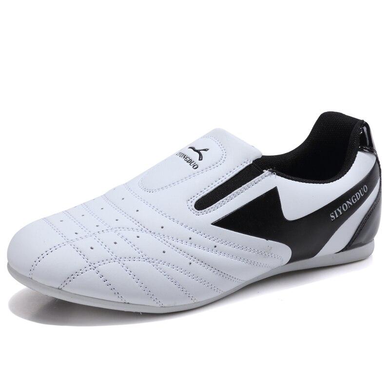 Обувь для тхэквондо; детская обувь для тхэквондо; обувь для боевых искусств; тренировочная обувь для мальчиков и девочек; дышащие Нескользящие износостойкие кроссовки - Цвет: White