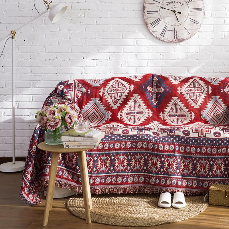100% Cotton Knitted Sofa Blanket Geometric Hanging Tapestry Turkish Blanket Bedroom Rug Soft Living Room Carpet Bedspread