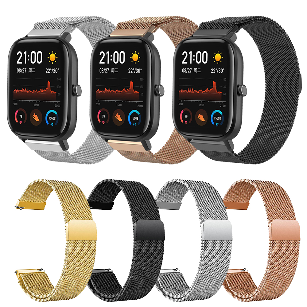 Metal Milanese Loop Band Xiaomi Huami For Amazfit GTS Wrist Strap Bracelet  Bip 2 Smart Watch Amazfit GTR 47MM