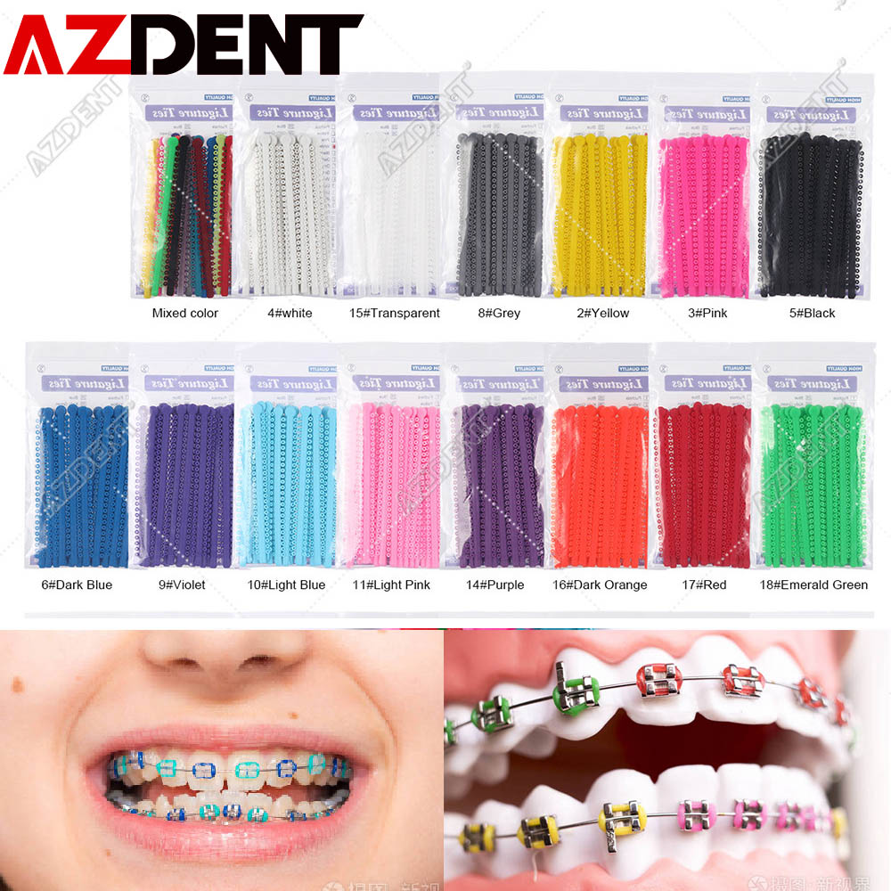 1000pcs=20sticks Azdent Dental Orthodontic Ligature Ties Elastic Rubber Tooth Ands Dentist Tools Braces Teeth Orthodontics