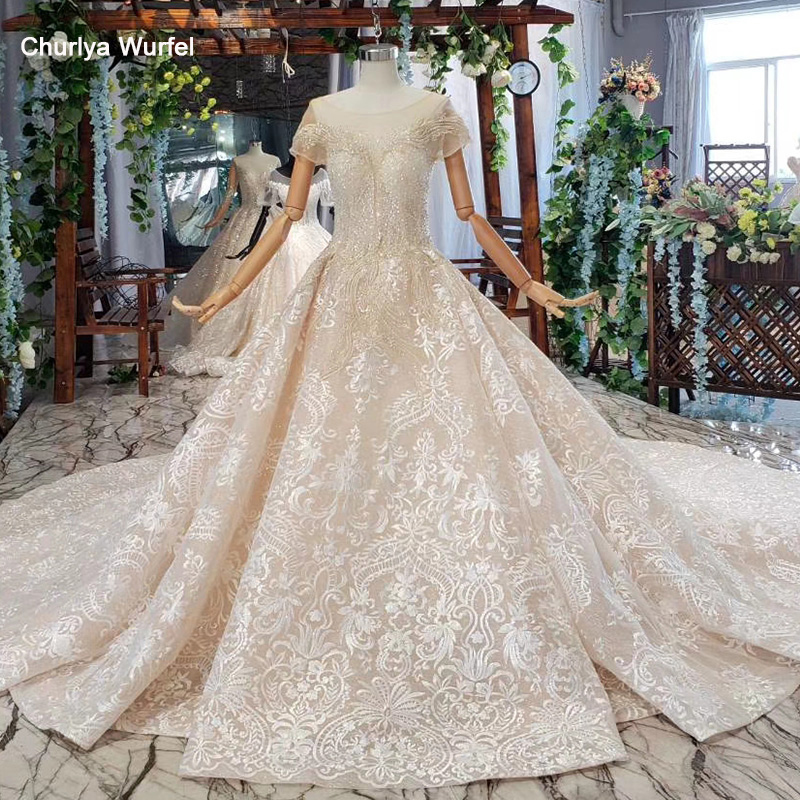 HTL670 Western Lace Wedding Dresses Illusion O-neck Short Sleeves Corset Tulle Wedding Gown Crystal Bead Robe De Mariee Boheme