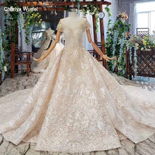 HTL670 western lace wedding dresses illusion o neck short sleeves corset tulle wedding gown crystal bead robe de mariee boheme