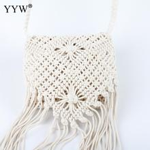 YYW Summer String Weave Tassels Bag Beige Casual Cord Crossbody Bags With Zipper Day Clutch Wallets Hollow Out Bolso Mujer 2020