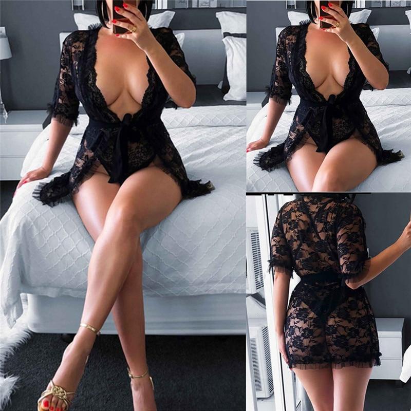 2019 Women Summer Sexy Lingerie Lace Dress Half Sleeve Underwear Black Sleepwear G String