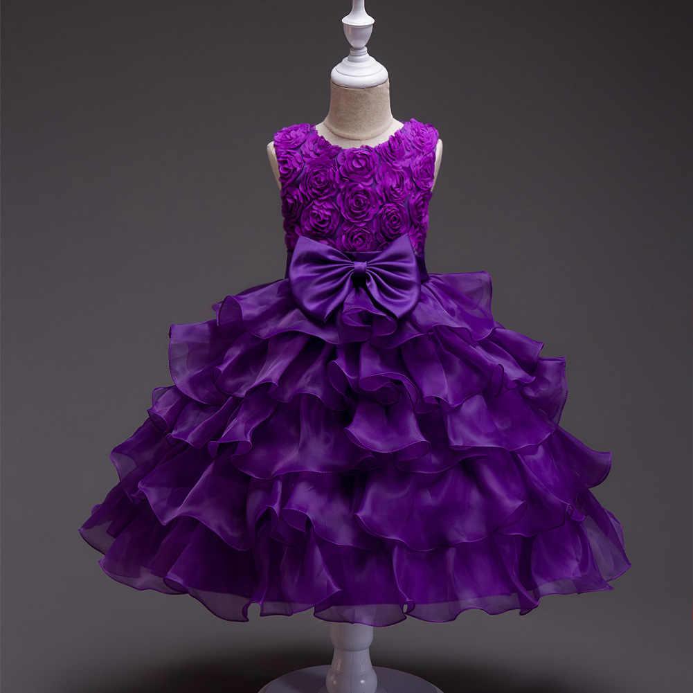 To YiiYa sukienka dla dziewczynki z kwiatami duży łuk dziewczyny korowód sukienki na imprezę i wesele wielowarstwowa Tank Vestidos De Noches para Ninas 559