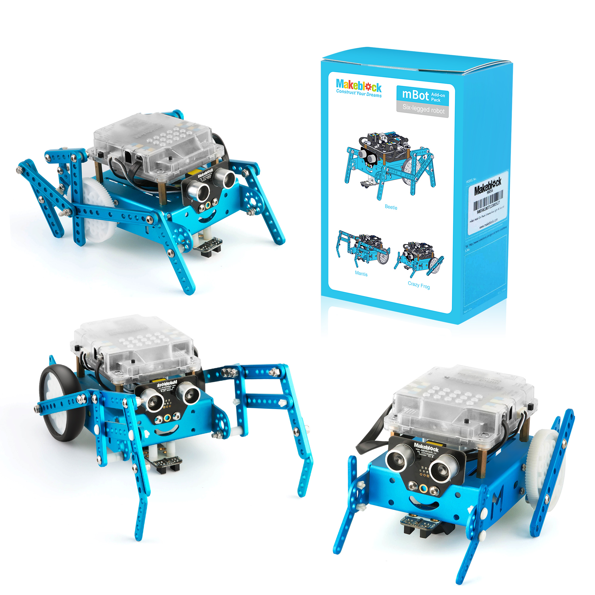Makeblock Six-Legged Robot Add-On Pack Designed For MBot, 3-In-1 Robot Add-On Pack, 3+ Shapes