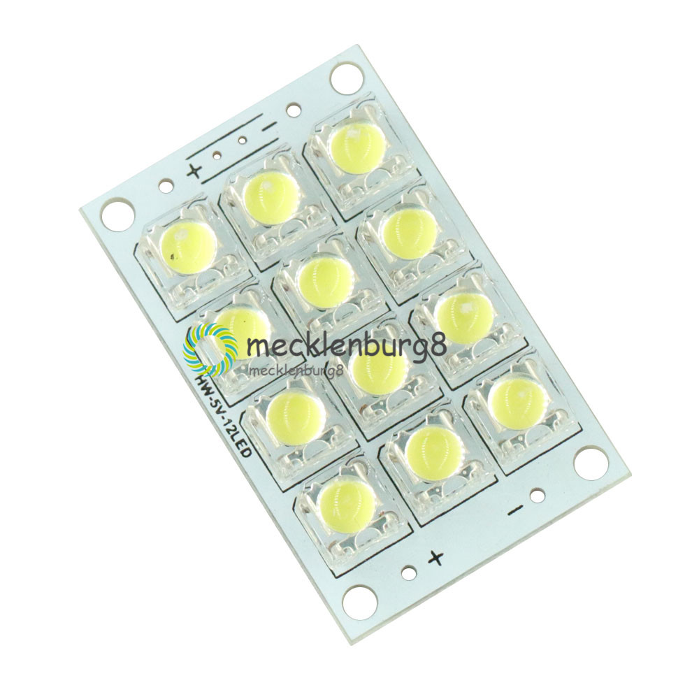 12 LED Super Bright White LED Piranha Board Night LED Lights Lamp 5mm High Brightness DC 3V-5V