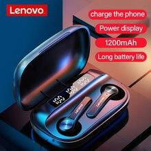 Lenovo bezprzewodowe słuchawki Bluetooth 5.1 Stereo dźwięk słuchawki HD zestaw słuchawkowy z 1200mAh przypadku ładowania może ładować telefon
