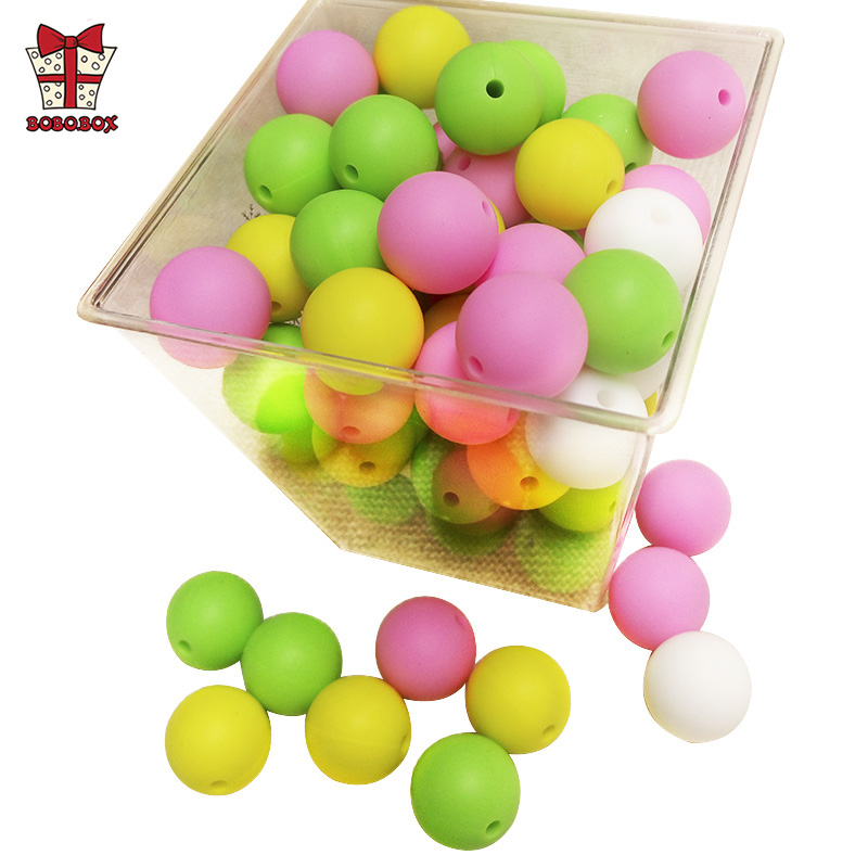 BOBO.BOX 19mm 10pcs Round Perle Silicone Beads Food Grade Baby Teething Beads Pacifier Chain Accessories Silicone Teether Toys