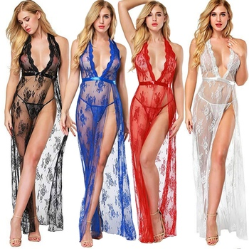 Lace Perspective Dress Low-cut Nightdress Hanging Neck Deep V Open Back Strip Long Skirt  Sexy Erotic Babydoll Sleepwear navy lace up side low cut v neck suede mini dress