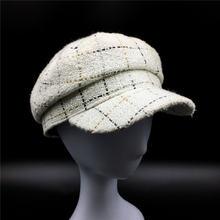 Женская клетчатая твид Бейкер мальчик шляпу с золотым люрексом