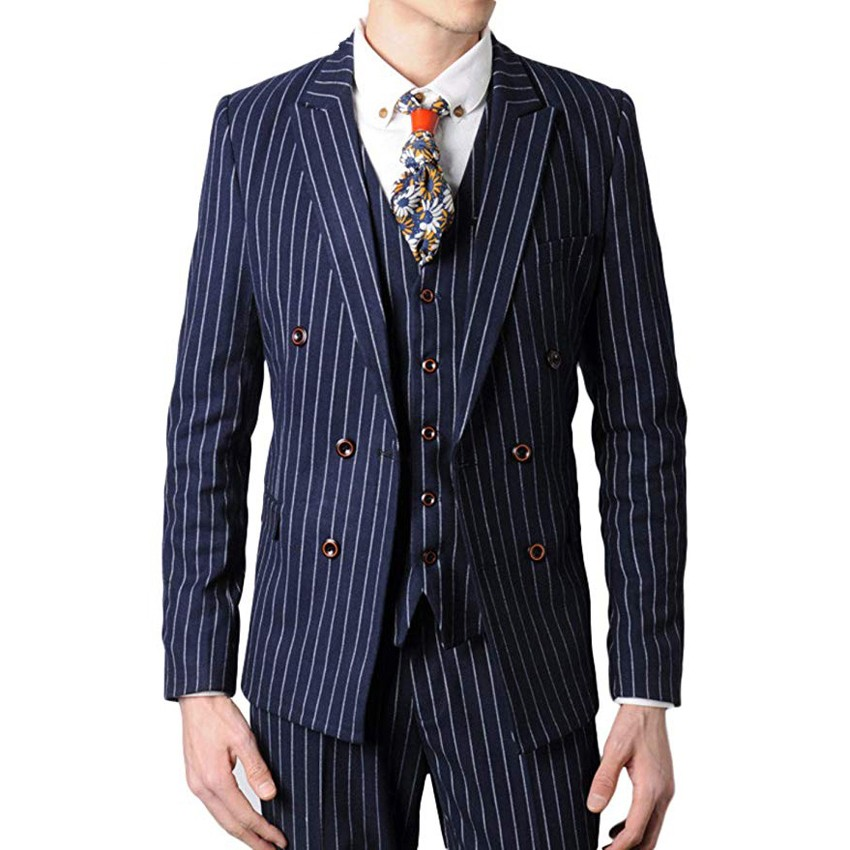 Double Breasted Groomsmen Black/Grey/Navy With White Stripes Groom Tuxedos Peak Lapel Men Suits ( Jacket+Pants+Vest+Tie ) C814