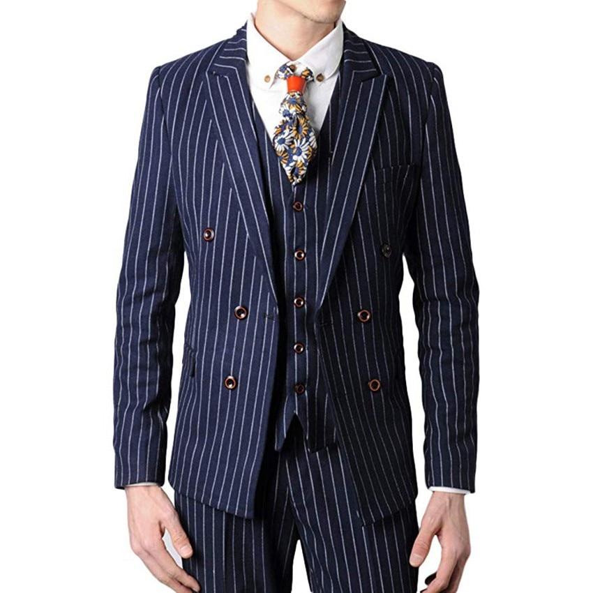 Double Breasted Groomsmen Black/Grey/Navy With White Stripes Groom Tuxedos Peak Lapel Men Suits ( Jacket+Pants+Vest+Tie ) C814