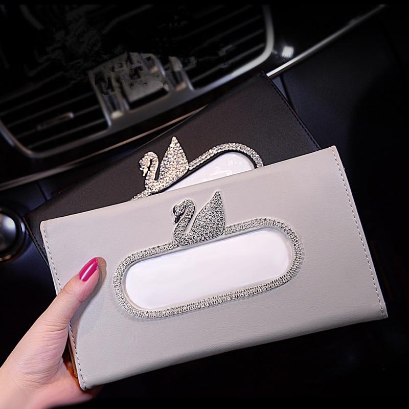 Car Tissue Box Car Mounted Paper Extraction Box Sun Shade Hanging Swan Diamond Set Car Tissue Box Top Grade Paper Extraction Box