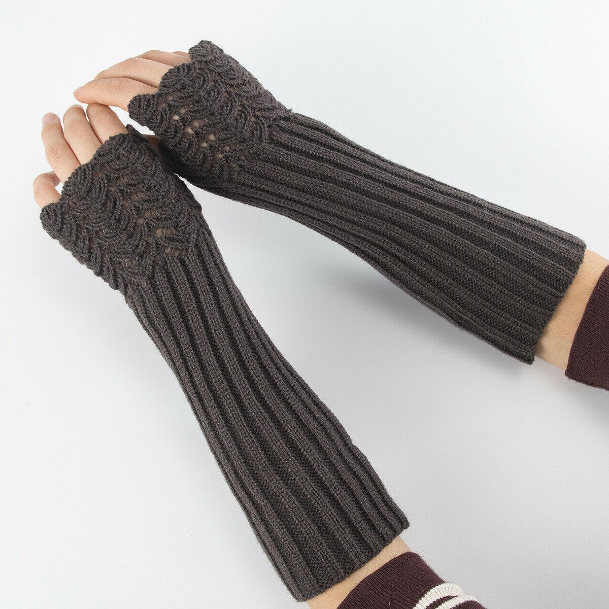Women's Fashion Knitted Fingerless Winter Gloves Warm Wool Warm Gloves UK Finger Wool Gloves Arm Warmers