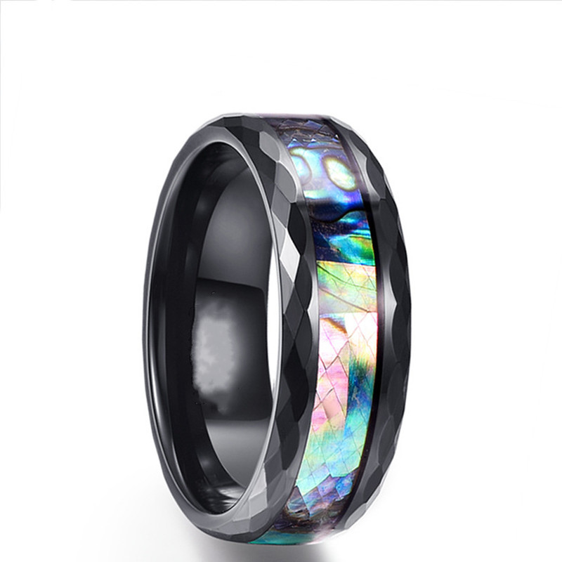 Wood-Inlay-Titanium-Steel-Rings-For-Men-8-mm-Abalone-Shell-Tungsten-Carbide-Ring-Fashion-Male (2)