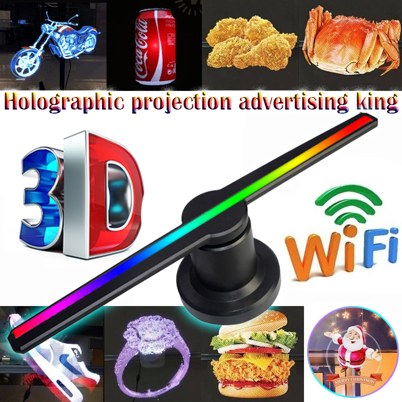 3D Hologram AD Advertising Fan Projector light display holographic LED holograma wifi customized photos videos 224 lamp beads image