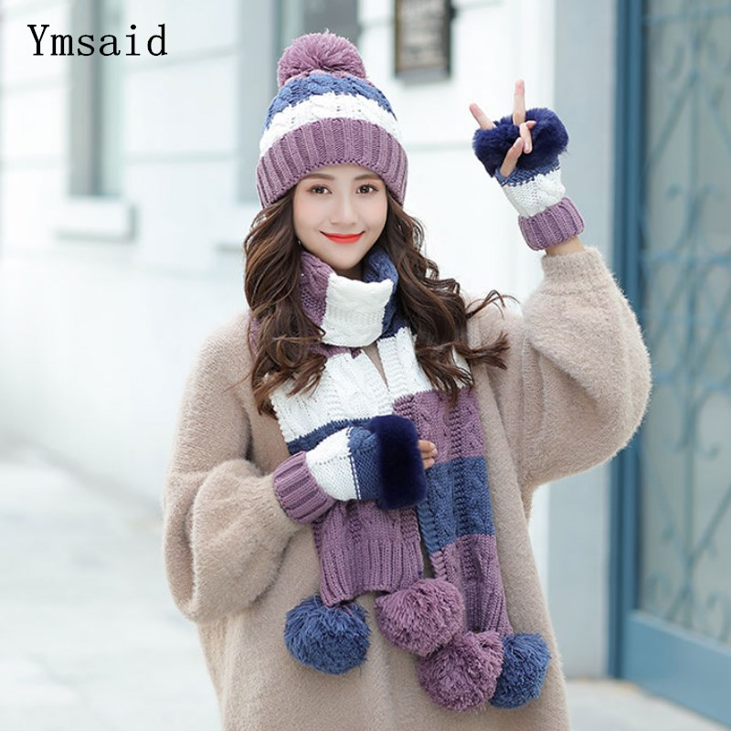 Woman Winter Hat And Gloves Sets Fashion Woolen Hat Scarf Gloves Set Sweet Girl Hat Scarf Set For Female Warm Knitted Hat