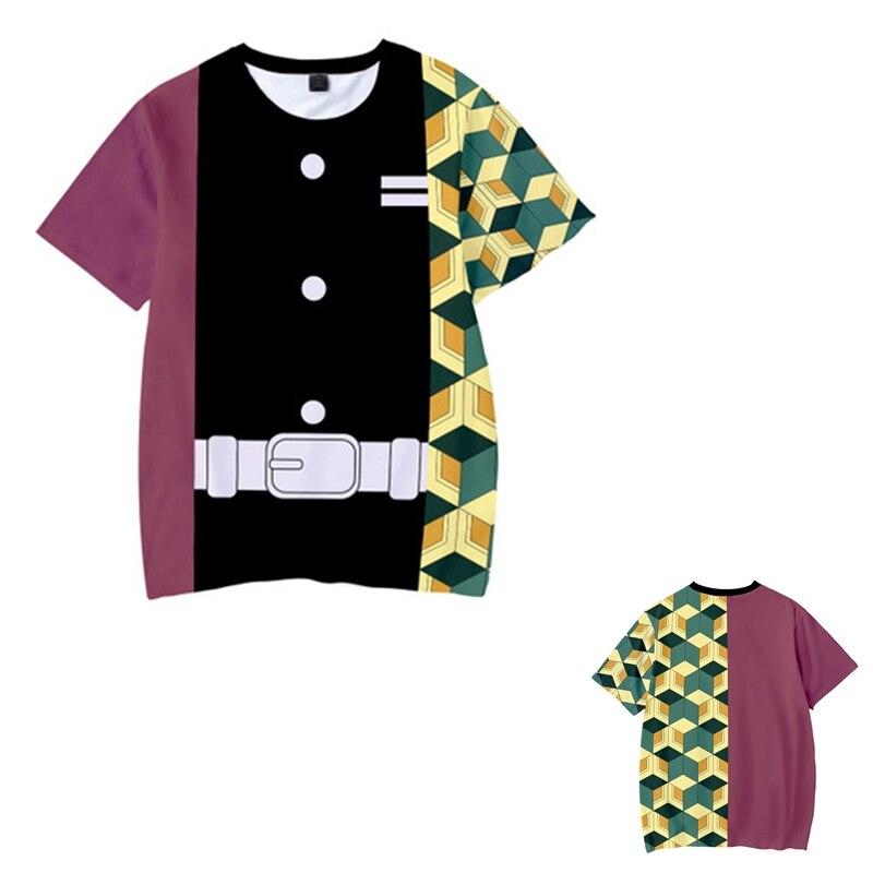 Kids Boys Devils killer T-shirts 3d Print Cosplay Japanese Ghost blade Children Summer Short Sleeve Tshirts Demon Slayer Clothes 17