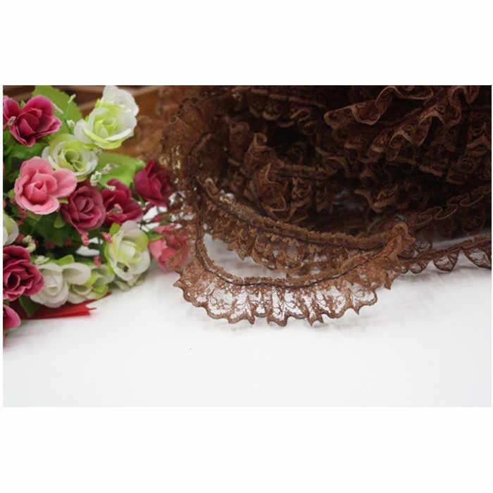 1M plisado guipur tul encaje cinta ajuste 2,5 cm Diy costura blanco negro púrpura encaje tela vestido decoración artesanía suministros JH13