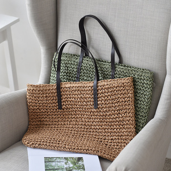 Women Handbag Summer Beach Bag Rattan Woven Handmade Knitted Straw Large Capacity Totes Leather Women Shoulder Bag Bohemia New 4