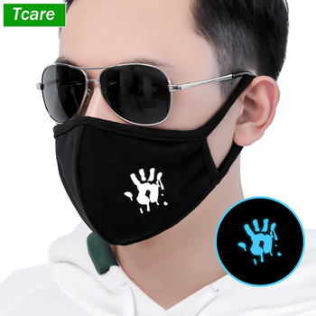 Breathable Face Mouth Mask Warm Funny Luminous Unisex Black Cotton Blend Anti-Dust Face Mouth Mask for Raves, Clubs and Parties