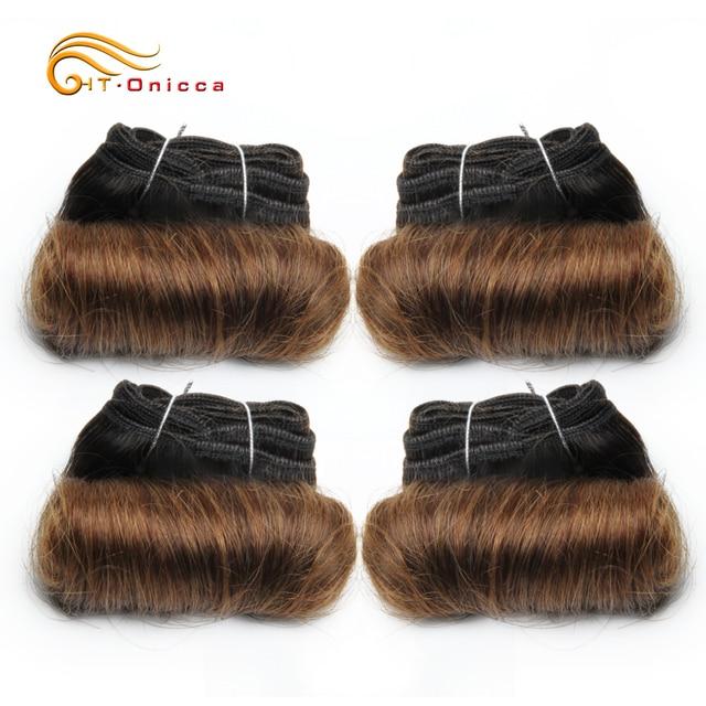 Brazilian Curly Hair Weave Bundles 100% Human Hair 4 Bundles Afro-b 1B 30 Bundles Hair Extension 5 5 6 7 Inch Htonicca Remy Hair 4
