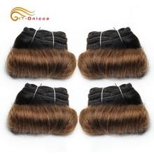 Бразильский Кудрявые Волосы 4 Пучки Двойные Нарисованные Человеческие Волосы 5 5 6 7 Дюйм Реми Волосы Плетение Пучки 1B 27 30 99J Цвет Для Черный Женщины