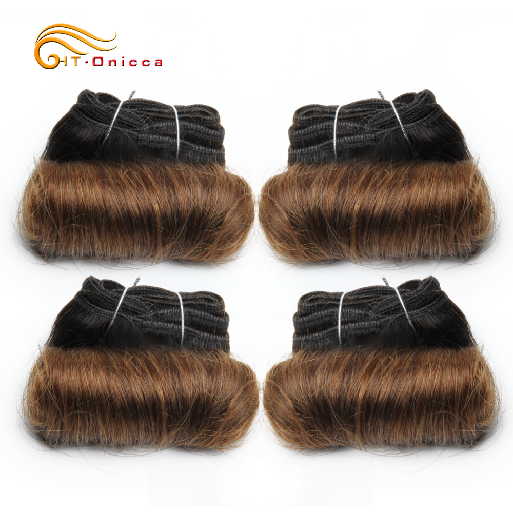 Brazilian Curly Hair 4 Bundles Short Double Drawn Human Hair 5 5 6 7 Inch Remy Hair Weave Bundles 1B 27 30 Color For Black Women