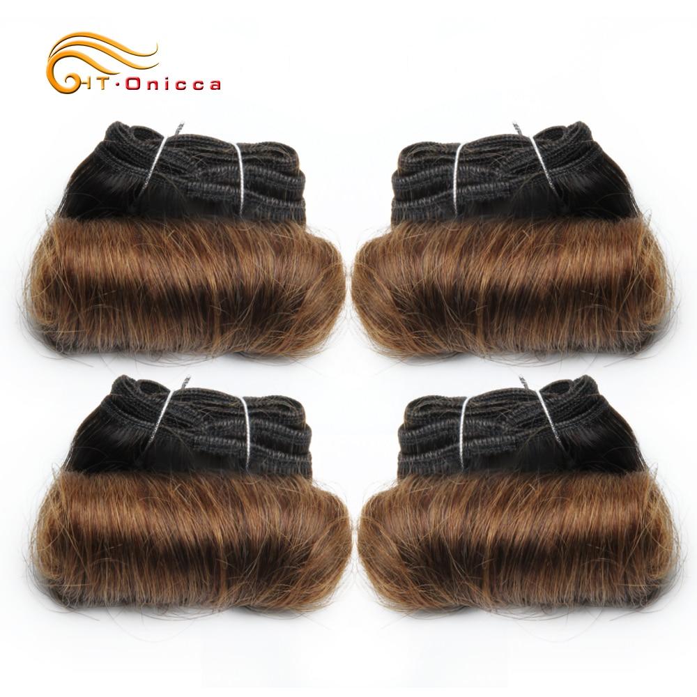 Curly Bundles Peruvian Hair Bundles Human Hair 4Pcs/Lot Weave Bundles Hair Extensions In T1B T1B/27/30 5 5 6 7 Inch Htonicca