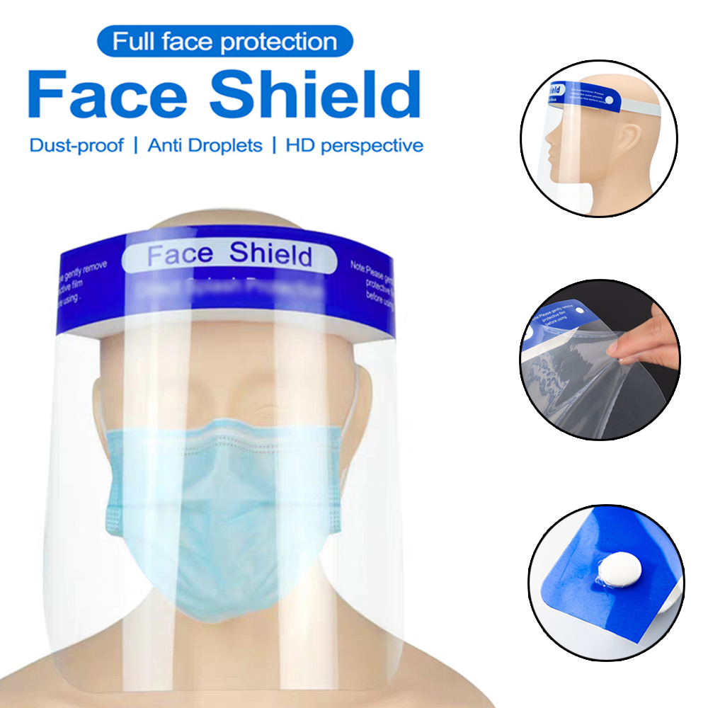 5PCS Adjustable Face Shield Respirator Transparent Protective Anti Droplet Dust-proof Full Face Covering Anti-fog