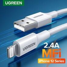 Ugreen mfi usb cabo para iphone 12 mini 2.4a carregamento rápido carregador usb cabo de dados para iphone 12 pro max 11 xr 8 cabo de carga usb