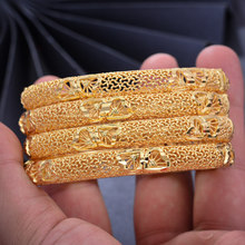 Pulseira 4 pçs 24k ouro árabe cor pulseiras para mulher/menina oriente médio dubai bangles & pulseira casamento etíope jóias africanas