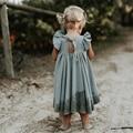 New 2020 Children Summer Twirl Dress Baby Girls White Dresses Trendy dress Kids Short Sleeve Ruffle Long Dresses Beautiful Girls
