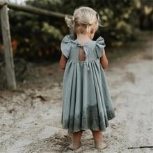 새로운 2020 어린이 여름 돌리기 드레스 아기 소녀 흰 드레스 유행 드레스 아이 짧은 소매 프릴 긴 드레스 아름다운 소녀