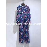 Bohemian Spring Autumn Long Sleeve Round Neck Casual Dress High Quality Purple Linen Printed Long Sleeve Waist V neck Dress