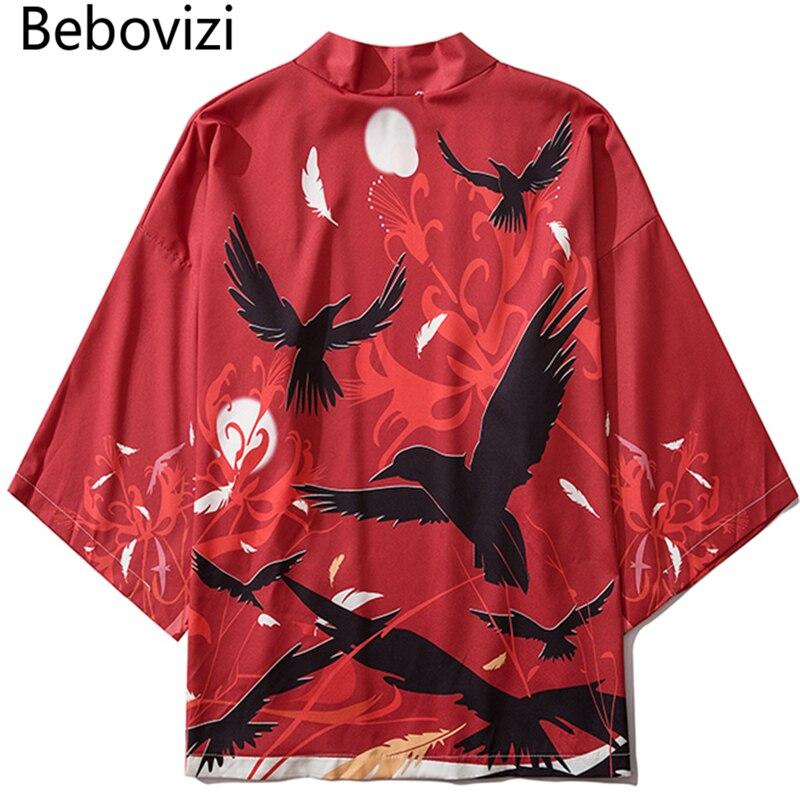 Bebovizi Japanese Crow Print Kimonos Streerwear Yukata Women Haori Harajuku Kimono Robe Cardigan Men Red Asian Clothes