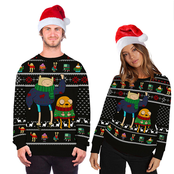 2020 Unisex Christmas Costume Cartoon Animation 3D Digital Printing Fashion Long-sleeved Shirt Hooded Ugly Christmas Sweater 2020 digital printing 3d printing explosion models long sleeved men and women hooded couple hoodie