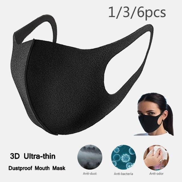 New k-pop Black Lucky Bear Women Men Sponge Face Mouth Masks Winter Mask Dustproof Mouth Face Mask Anime Cartoon Kpop