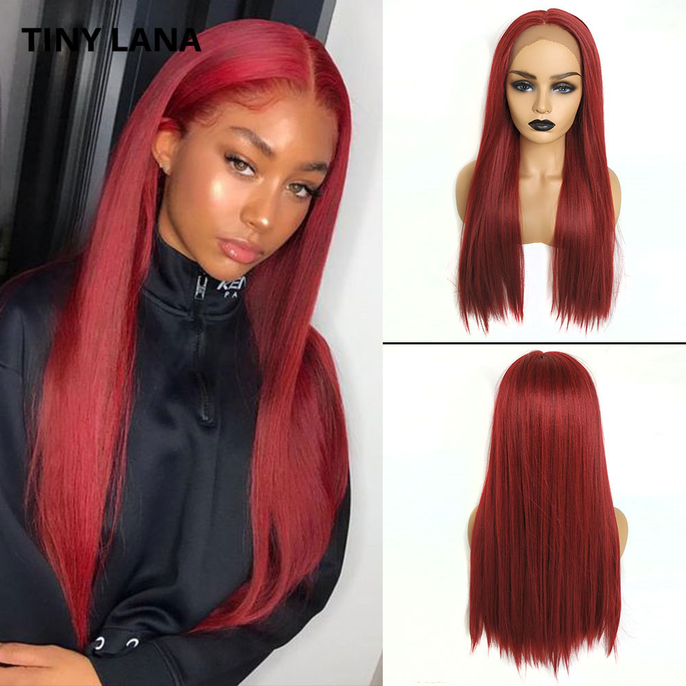 TINY LANA Wine Red Straight Lace Front Wigs For Black Women Lace Wig Long Synthetic Hair Wigs Middle Part Heat Resistant