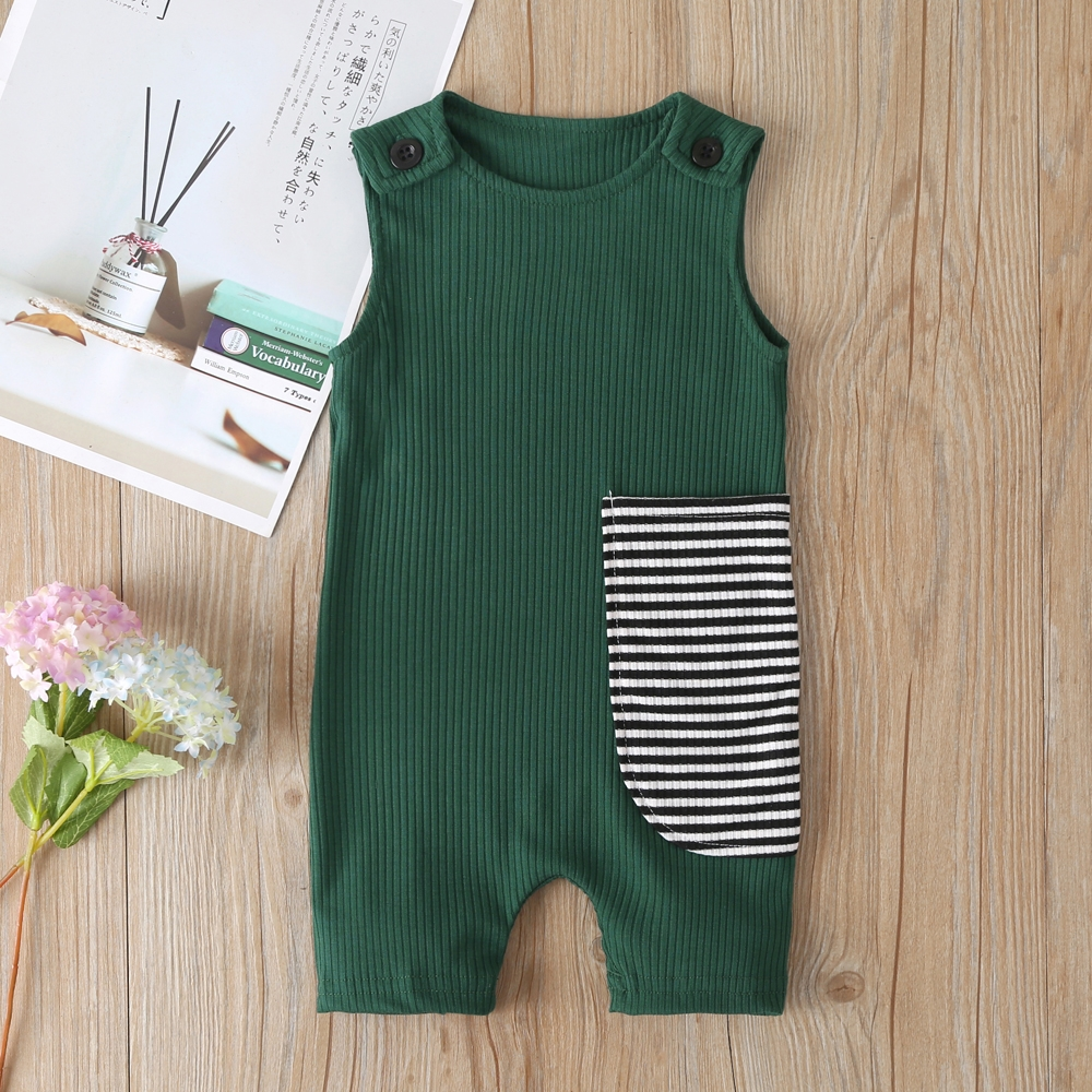 2021 New Baby Boys Girls Clothes Newborn Romper Infant Jumpsuit Summer Cotton Striped Patchwork Rompers Cool Shorts Babies 0-24M 4