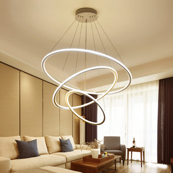 3 Circular Ring LED Pendant Lights Acrylic Aluminum For Living Room Dining Room Ceiling Warm White Modern Pendant Lights
