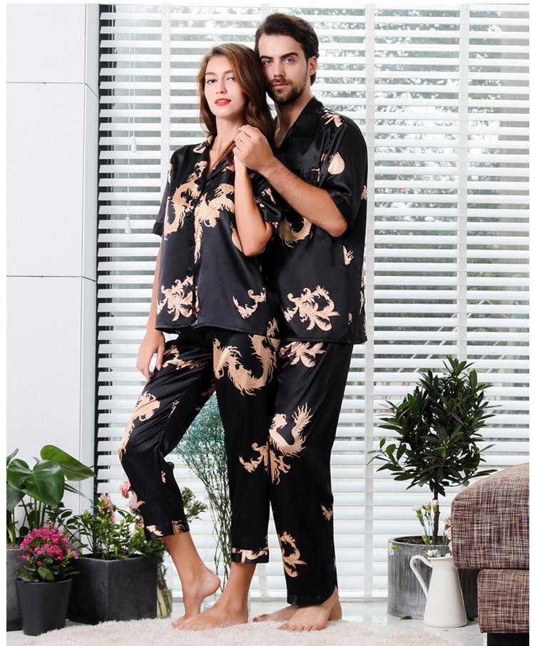 пижама Couple Silk Satin Pajamas Pyjamas Set Long Sleeve Sleepwear Pijama Pajamas Suit Sleep 2PC Set Lounge Wear Pajamas
