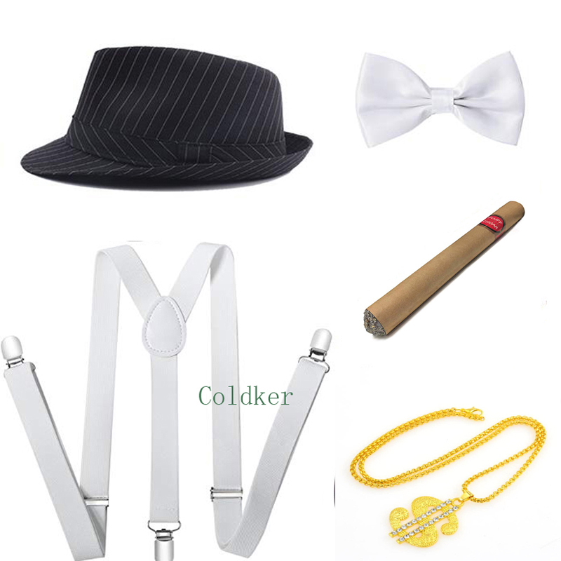 Cosplay Costumes 1920s Mens Gatsby Gangster Accessories Set Panama Hat Suspender Bow Tie Cigar Necklace Party Accessory