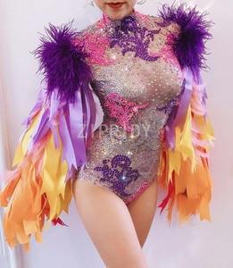 Image 5 - Multi color Rhinestones Ribbon Fringes Bodysuit Birthday Celebrate Prom Outfit Bar Women Singer Dancer Costume Outfit
