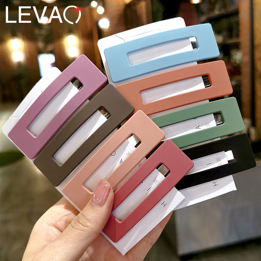 Levao 3PC Hollow Square Drop Shaped Hairpins Women Colorful Frosted Barrettes Bobby Clip For Girls Hair Clips Jewelry Headdress